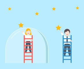 The glass ceiling metaphor ,  gender inequality discrimination