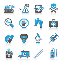 Ebola pandemic icons - vector icon set