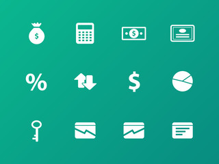 Economy icons on green background.