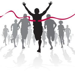 Athlete crosses the Winning Line.