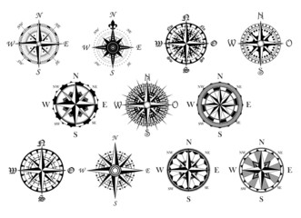 Antique compasses symbols set