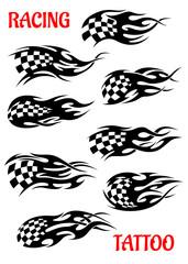 Set of motor racing vector tattoos