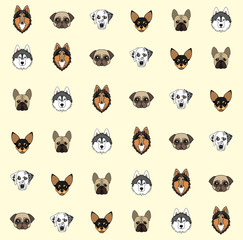 yellow background with dogs of various breeds