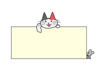 ボードを指さす猫
