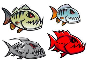 Cartoon colorful pirhana fish characters
