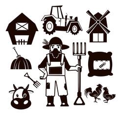 Stock vector farm pictogram illustration black icon set