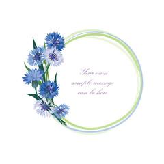 Flower frame. Cornflower summer picture frame