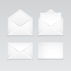 Set of White Blank Envelopes Isolated