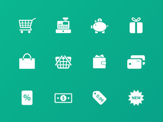 Shopping icons on green background.