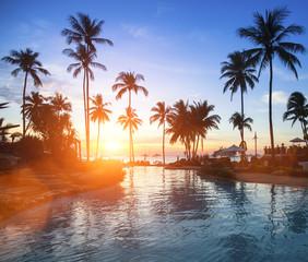 Fantastic sunset on a tropical beach.