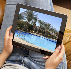 Resort photo on tablet