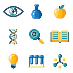 Flat science education research study web icons