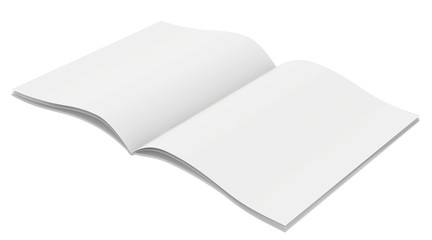Full open magazine with unfolded sheets of paper.