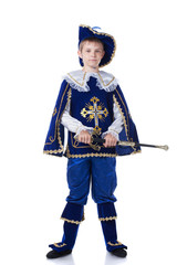 Handsome young musketeer, isolated on white