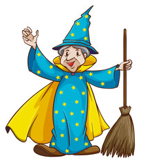 A witch holding a broom