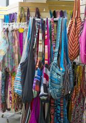 Bags in street shop. Europe. Spain