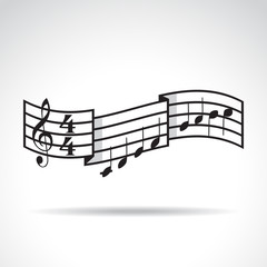 Music signature and bars with notes. Illustration