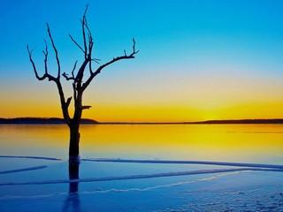 Tramonto Lago Ghiacciato