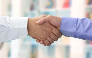 Hände beim Vertragsabschluss vor farbe
