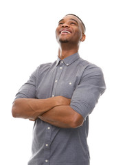 African american man laughing with arms crossed