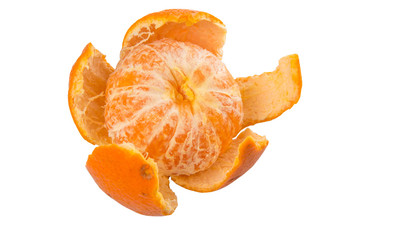 Peeled Mandarin orange fruit over white background