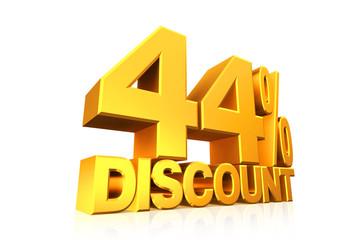 3D render gold text 44 percent discount.
