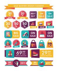 School sale banner design flat background set, eps10