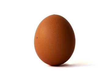 Isolated single brown chicken egg on white background