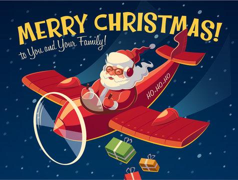 Santa on the plane. Christmas card