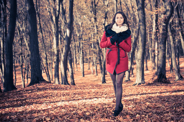 sexy brunet in red coat at fall forest