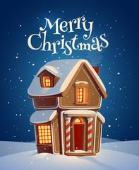 Gingerbread house. Christmas card