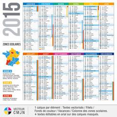 Calendrier 2015 avec carte des zones scolaires et académies