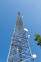 Microwave Tower Rising Into Blue