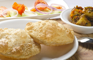 Yummy puri with potato dum curry
