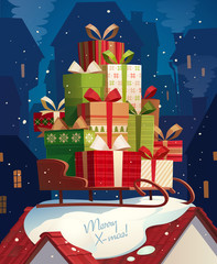 Sleigh and gifts. Christmas card