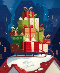 Sleigh and gifts. Christmas card
