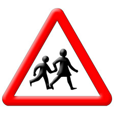 Schoolchildren crossing traffic sign