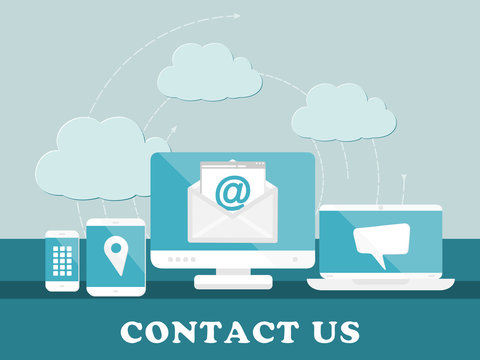 Contact us concept. Flat design web icons