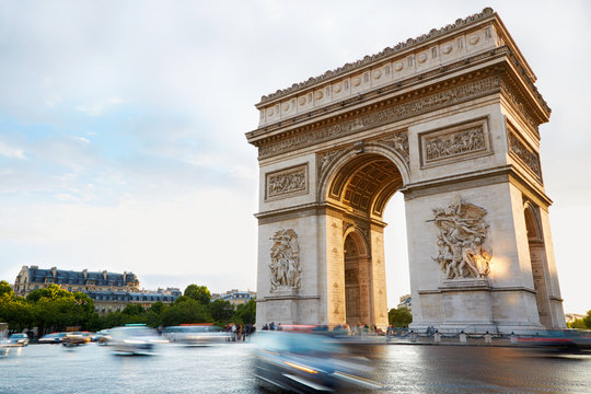 Arc de Triomphe in Paris afternoon