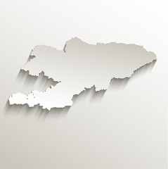 Kyrgyzstan map card paper 3D natural vector