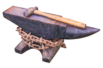Vintage rusty anvil isolated on white