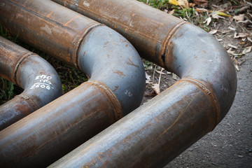 Bend of industrial steel pipeline