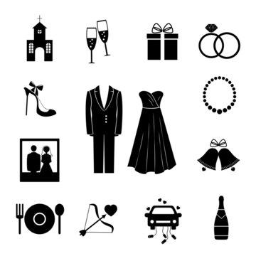 Set of black silhouette wedding icons