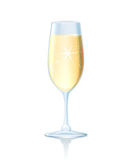 Flute of sparkling chilled champagne
