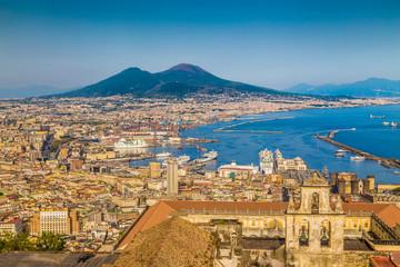 Foto op Plexiglas Napels City of Naples with Mt. Vesuv at sunset, Campania, Italy