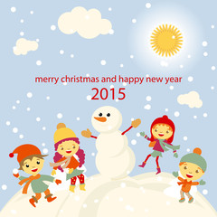 Winter Fun snowman kids vector 2015 retro