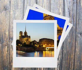 Vintage polaroid Paris landmarks photo