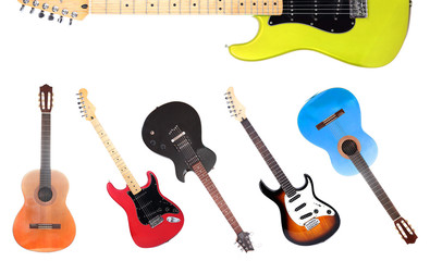 Wall Mural - Collage of modern guitar