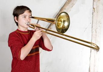boy with a trombone