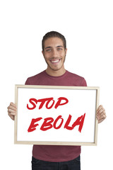 Campaign against Ebola by a man on white background